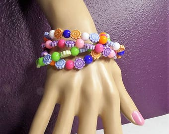 "Colorful Beaded Bracelet, 8"", *60"