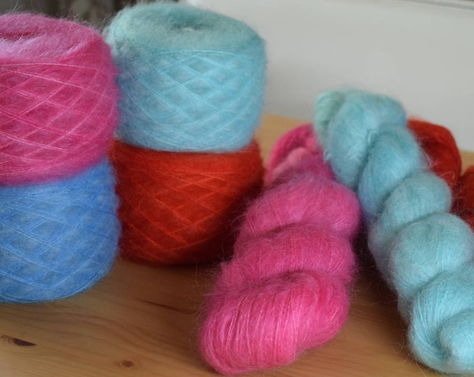 Featured listing image: Kid Mohair and Silk Lace Yarn, Hand dyed Yarn, Lace Yarn, Kid Mohair & Silk Yarn