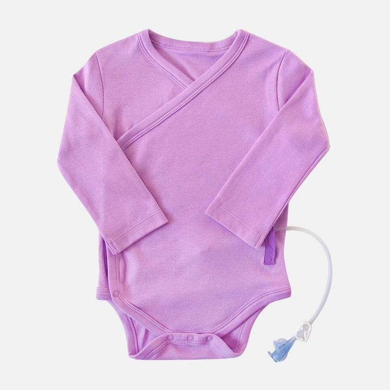 G-Tube /& Catheter Adaptive Baby Bodysuit Kimono wrap Organic Cotton Petunia