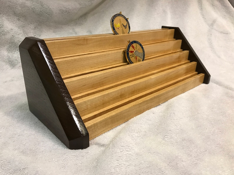 30 Coin Walnut & Maple Stepped Military Challenge Coin Display Rack