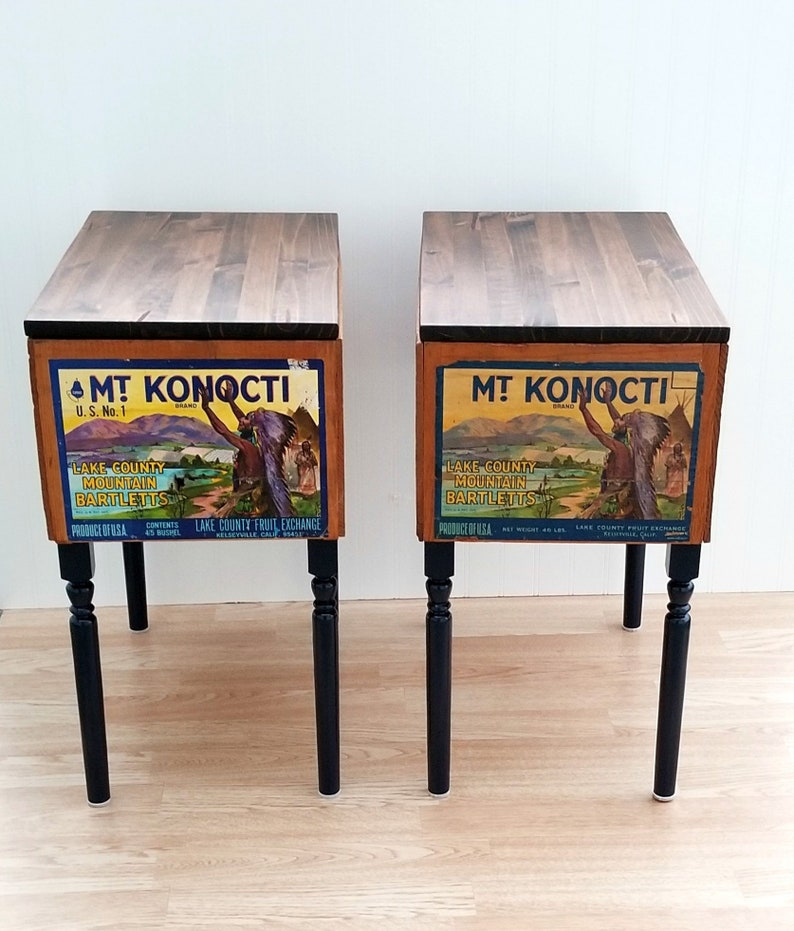 Vintage Fruit Crate Side Table Set End Tables With Storage Etsy