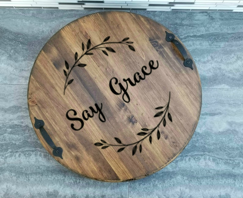Lazy Susan Personalized Say Grace Wood Lazy Susan With Handles Turntable Kitchen Table Decor