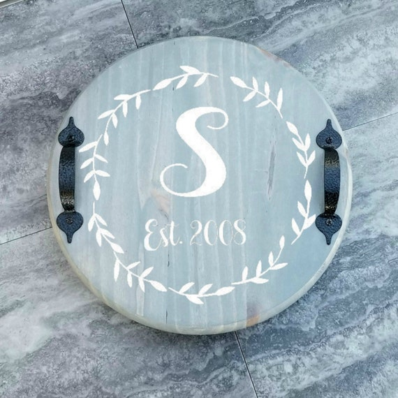 Lazy Susan Personalized Wood Lazy Susan With Handles Turntable Kitchen Table Decor