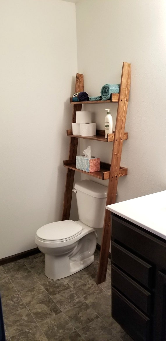 Over The Toilet Ladder Shelf Over The Toilet Storage Etsy