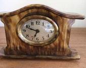 Bakelite Art Deco Mantle Clock in Faux Tortoiseshell