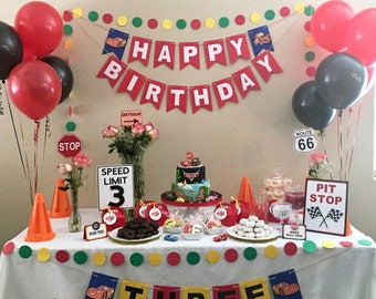 Cars Theme Birthday Banner Disney Inspired Decor Photo Prop