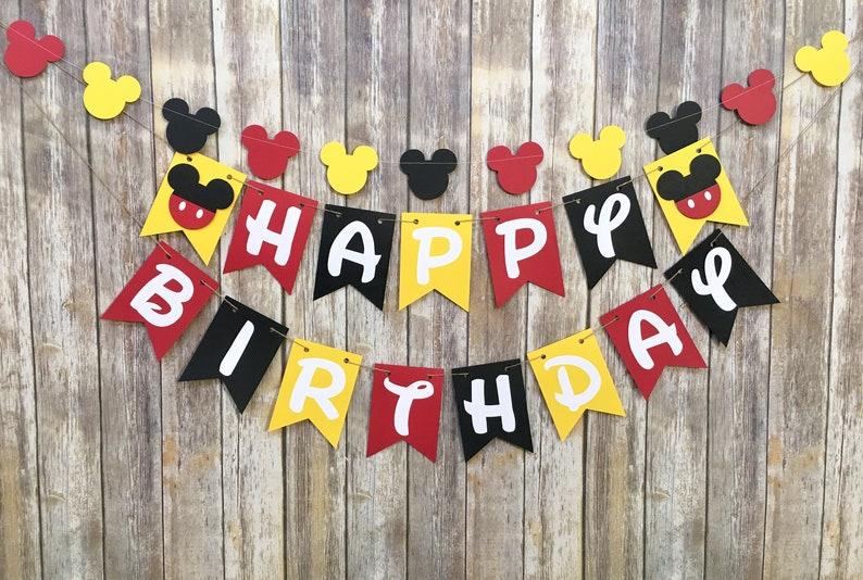 Photo Prop First Birthday Mickey Mouse Birthday Banner Mickey Birthday