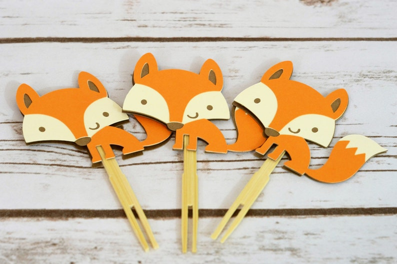 09a2863223148 Woodland Fox Cupcake Toppers Woodland fox party fox party | Etsy