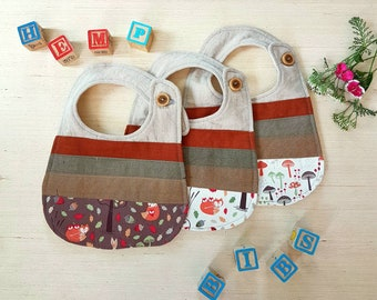 Toddler Bib, Hemp, Bamboo, Linen, Patchwork, Boy bib, toddler bib, girl bib, baby shower gift, Fox, Boho, Scrappy, Unisex