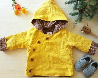 Hemp Pixie Coat with Handmade Buttons. Ecofriendly hand dyed Unisex Baby Jacket