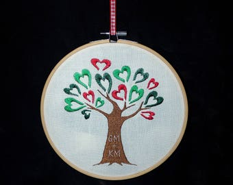 Handmade Tree design with Personalised Initials Embroidery Hoop Wall Art