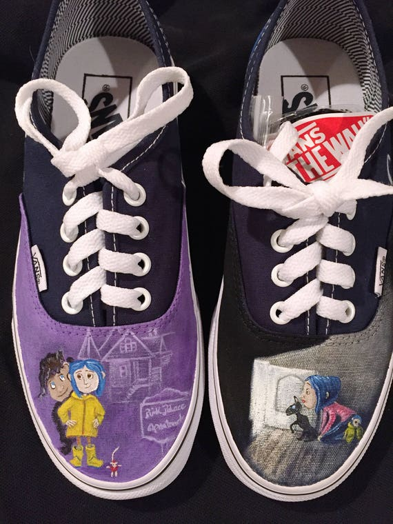 Coraline Custom Vans, Toms, Converse Hand painted Custom Shoes