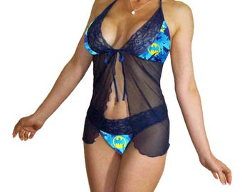 7831afd789c Batman Print Navy Blue Sexy Lace Babydoll Set w/ G-String Panties - Pls  Read Sizing - XS to Large, Custom Sizing - Made to Order