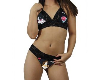 8aeb8c97414 Black Tattoo Sexy Black Lace Cami Tie-Top and Matching G-String Thong Panty  Lingerie - MADE with LICENSED Fabric - CUSTOM Sizing