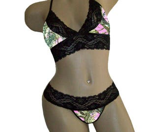 e9296f79b3474 Pink Camo Camouflage Sexy Black Lace Cami Tie-Top Matching G-String Panty  Lingerie-MADE with LICENSED True Timber Fabric-XL to 2X Plus Sizes