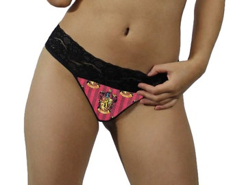 50cd052f30e6 Harry Potter Gryffindor Sexy Black Lace G-String Thong Panties Lingerie -  MADE with LICENSED Fabric - Order Lined or Unlined - XL - 2X Plus