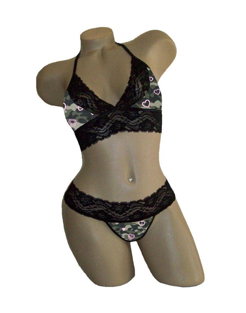 ef85f42fa4de1 Camo Camouflage Sexy Black Lace Cami Tie-Top and Matching | Etsy