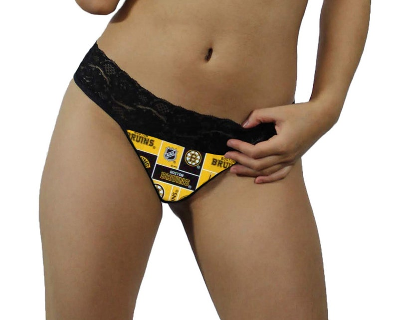 f2b2fc355 Boston Bruins Sexy Black Lace G-String Thong Panties Lingerie