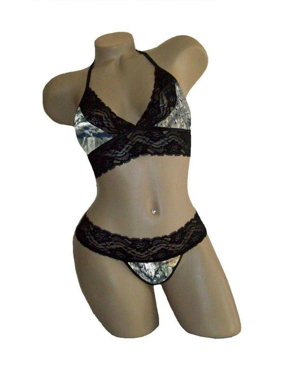 Camouflage Mossy Oak Camo Lingerie Camisole /& Boyshorts Panties Set