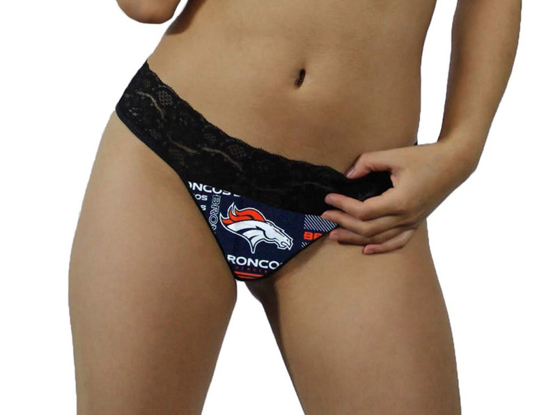 affb7fe9533 Denver Broncos Sexy Black Lace G-String Thong Panties Lingerie