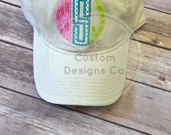 Monogram hat. Applique hat. cute hat. multi color. gift idea. gift for mom. gift for daughter. mothers day gift. summer hat. custom hat.