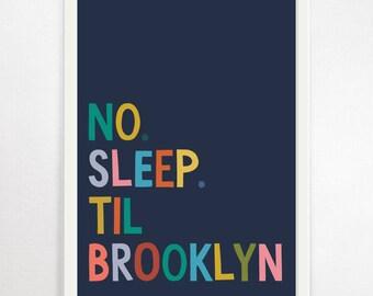 No Sleep Til Brooklyn, Nursery Prints, Nursery Decor, Nursery Wall Art, Childrens Prints, Music Poster, Beastie Boys, Childrens Decor, Music