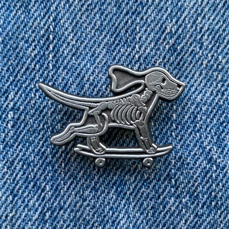 Skeleton Skate Dog Silver Pin image 0