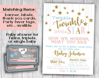 Twinkle twinkle little star baby gender reveal invitation theme printable baby shower digital download in pink & blue , gender reveal party