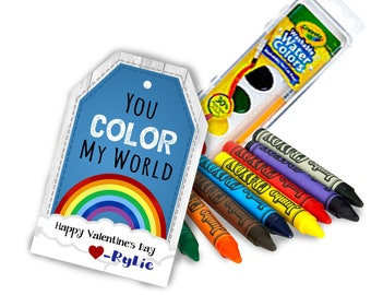 rainbow crayon or watercolor valentine cards and valentine tags to go with coloring toys kids valentine ideas