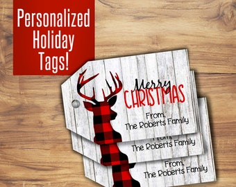 Merry Christmas Tags or happy Holiday Tags, gift tags with red and white reindeer winter, party favor tags or labels for christmas presents