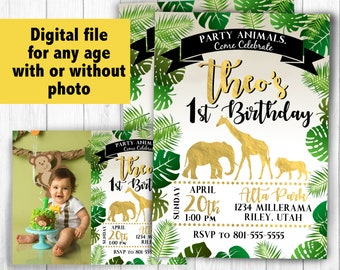 Jungle birthday invitation theme printable birthday invitations, cupcake toppers, party favors favor tags, banner jungle animal digital file