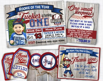 Little Slugger Baseball Birthday Invitation Theme Printable Card First With Or Without Picture In Cubs Colors