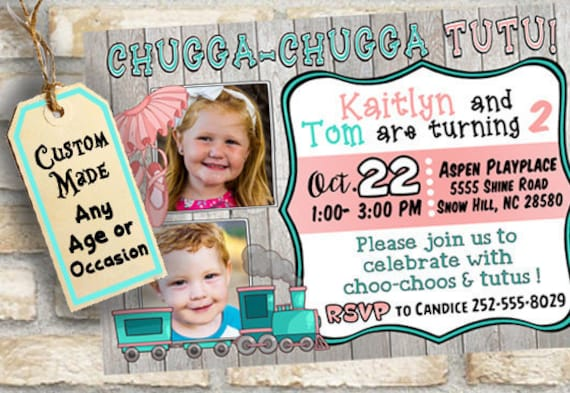 Boy Girl Twins Or Combined Birthday Party Invitation With Cute Etsy