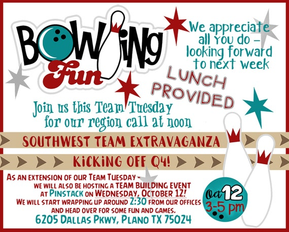 bowling birthday party or company event flyer or custom