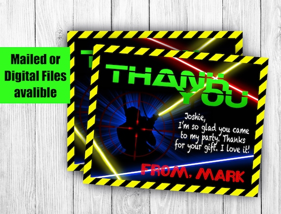 Laser Tag Birthday Party Thank You Cards Mailed Or Digital