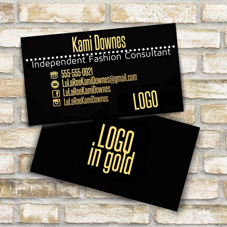 Gold and black business cards for fashion consultant digital file to print  steelfish font logo on back home office approved roe