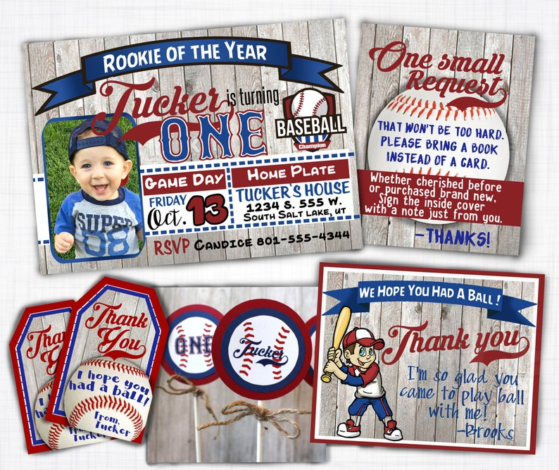 Little Slugger Baseball Birthday Invitation Theme Printable