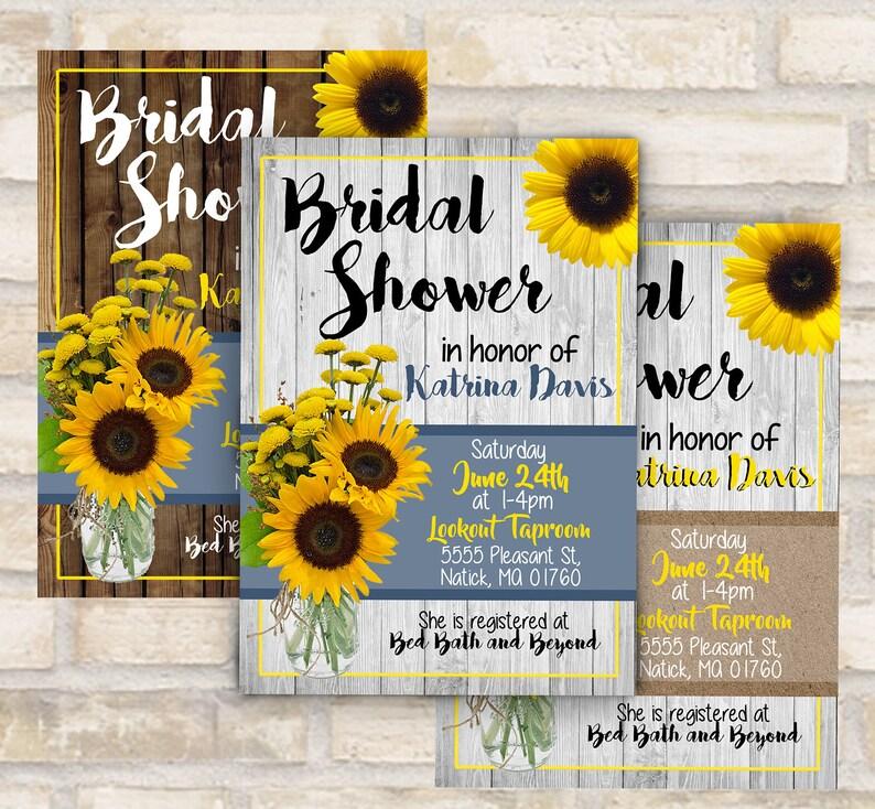 ee1aab465ac Rustic sunflower and mason jar bridal shower invitation or