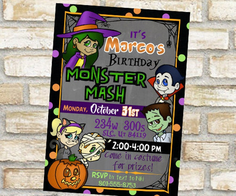 Halloween Themed Birthday Party Invitation Card Monster Mash Costume Original Ar