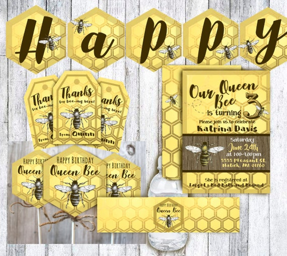 Queen Bee Birthday Invitation And Decorations For Printable