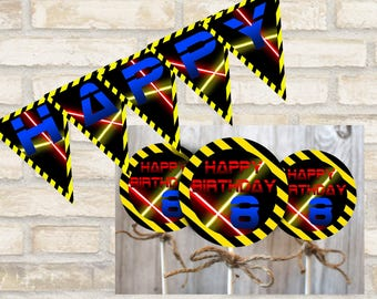 Laser tag banner and laser tag cupcake toppers for birthday party decor and decorations digital download
