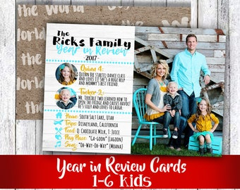 Year in review family photo Christmas card or happy holiday rustic wood bright colors to match pictures 3 to 7 photos for 2 to 6 kids
