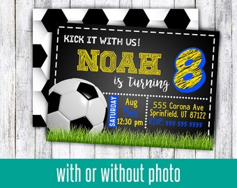 Soccer birthday party invitations for boy or girl kick it with us for any age birthday pro soccer with or without picture digital download