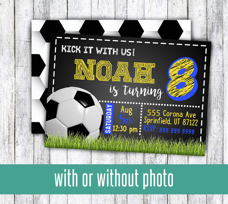 Voetbal Verjaardag Partij Uitnodigingen Voor Jongen Of Meisje Etsy