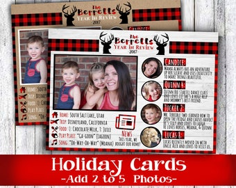Year in review family photo Christmas card or happy holiday in buffalo plaid rustic red mailer for friends and neighbors gold and white
