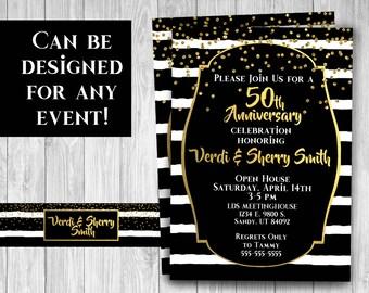 black and gold anniversary invitation , adult teen birthday invitation , classy birthday invitation , Gatsby theme , elegant digital file
