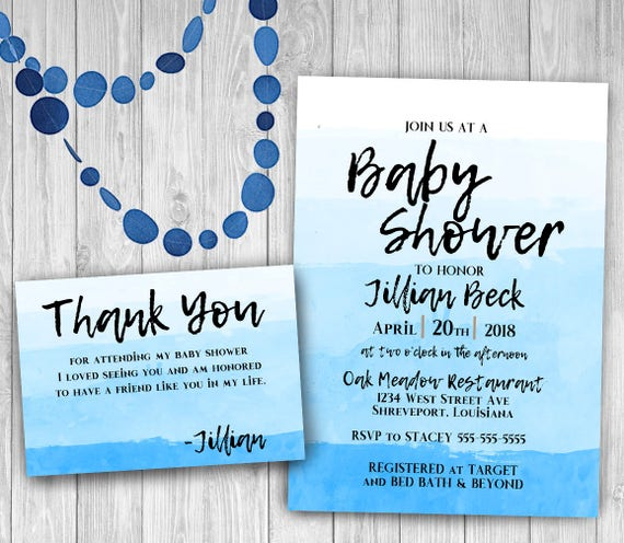 Blue Baby Shower Invitation Suite Matching Thank You Cards Etsy