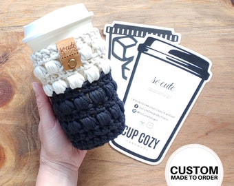 So Cute Color Block Coffee To Go Cup Crochet Cozy Travel Bottle Cozy Sleeve Gifts Under 10 Custom MADE TO ORDER