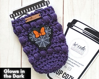 Purple Ms. Mouse Spiderweb Halloween Coffee Travel Cup Bottle Cozy Sleeve MADE TO ORDER