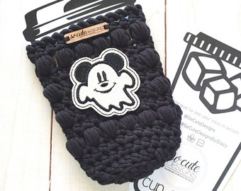 Black Mr. Mouse Ghost Halloween Coffee Travel Cup Bottle Cozy Sleeve MADE TO ORDER